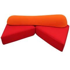 "Edra ""On The Rocks"" Sectional Sofa in Red and Orange by Francesco Binafare"