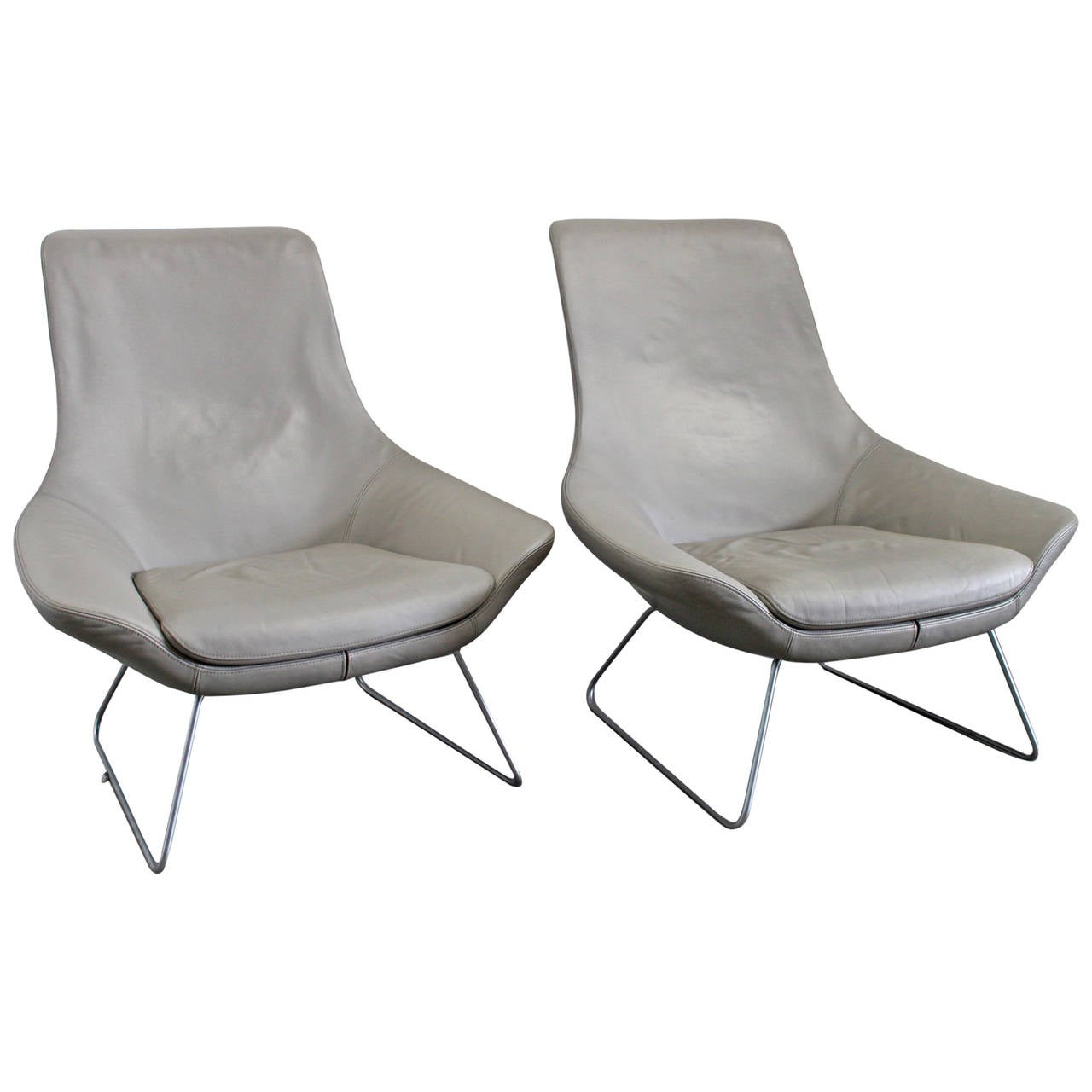 walter knoll flow 210 10 armchairs in grey leather by. Black Bedroom Furniture Sets. Home Design Ideas