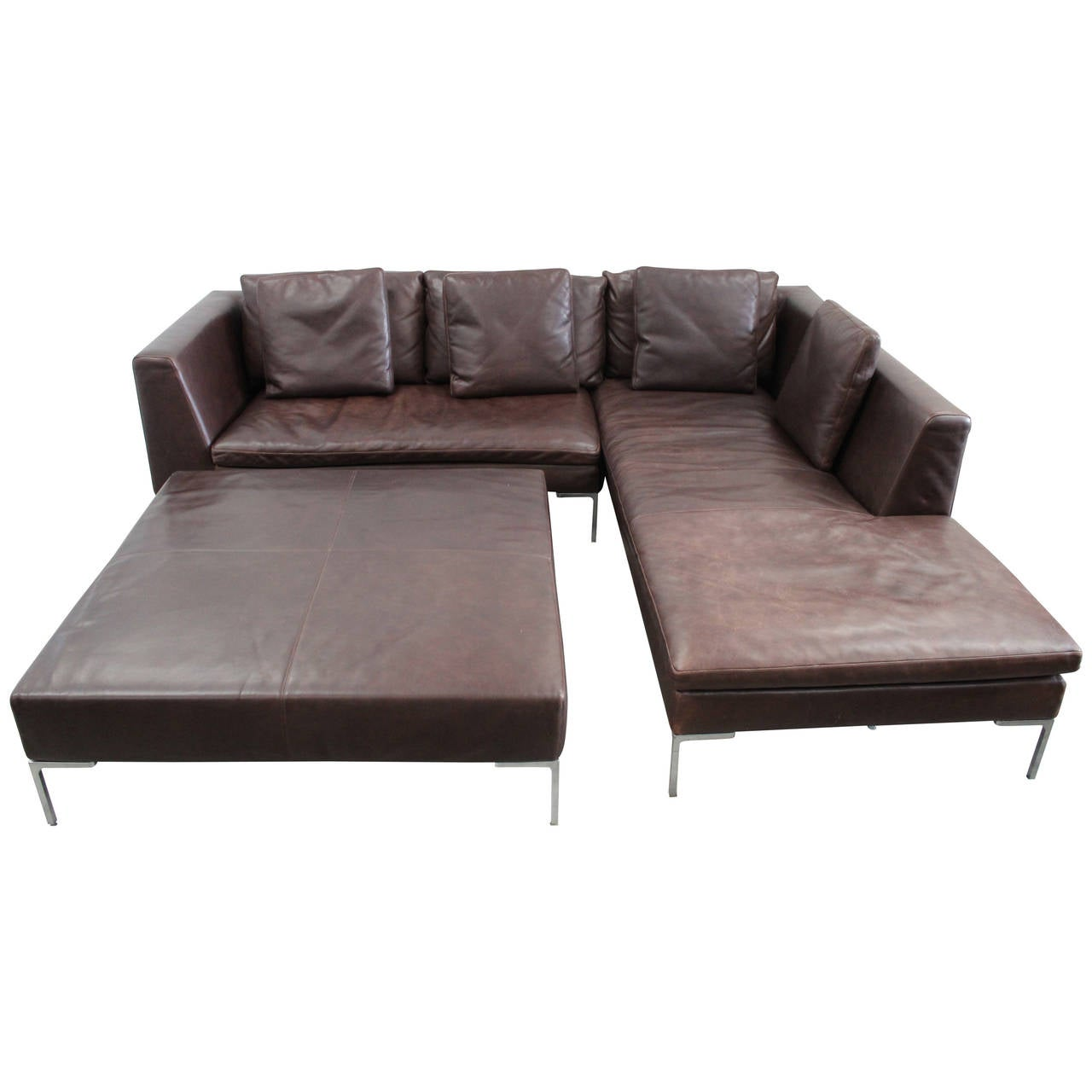 B B Italia Charles L Shape Sofa And Ottoman In Leather By Antonio Citterio At 1stdibs