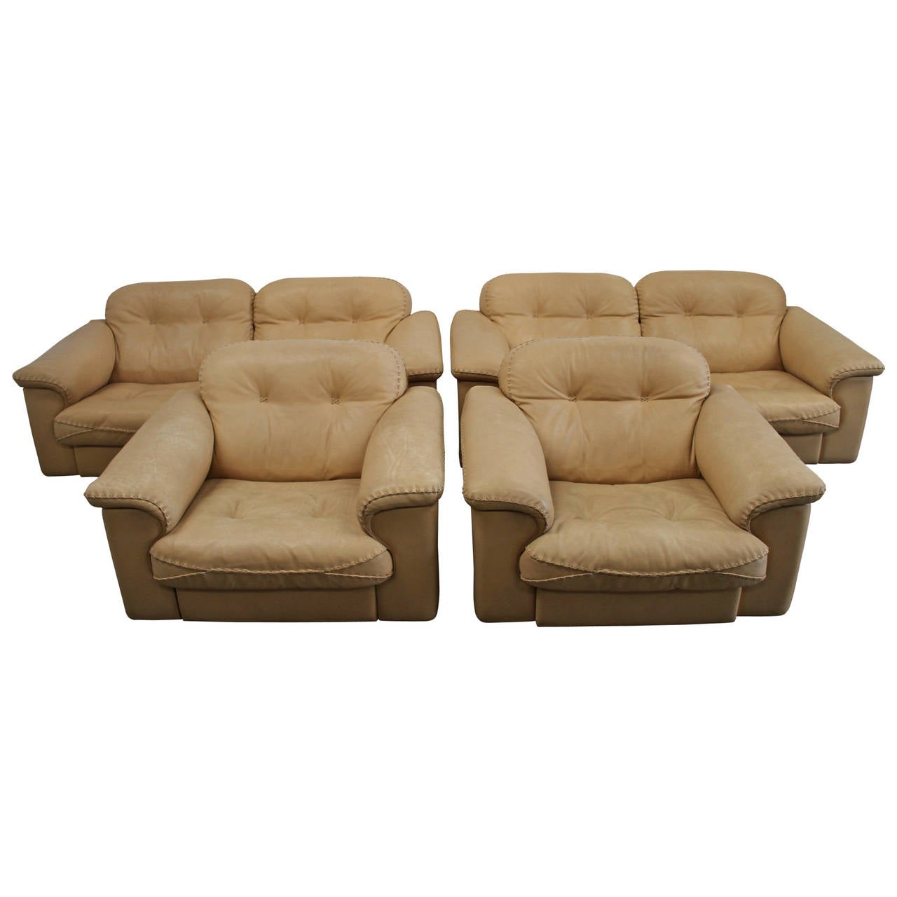 """Living Room Suites For Sale: De Sede """"DS-101″ Two Sofa And Two Armchair Suite In Neck"""