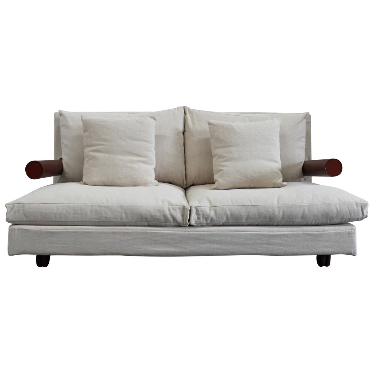bb italia baisity large two seat sofa in cream woven linen fabric by bb italy furniture