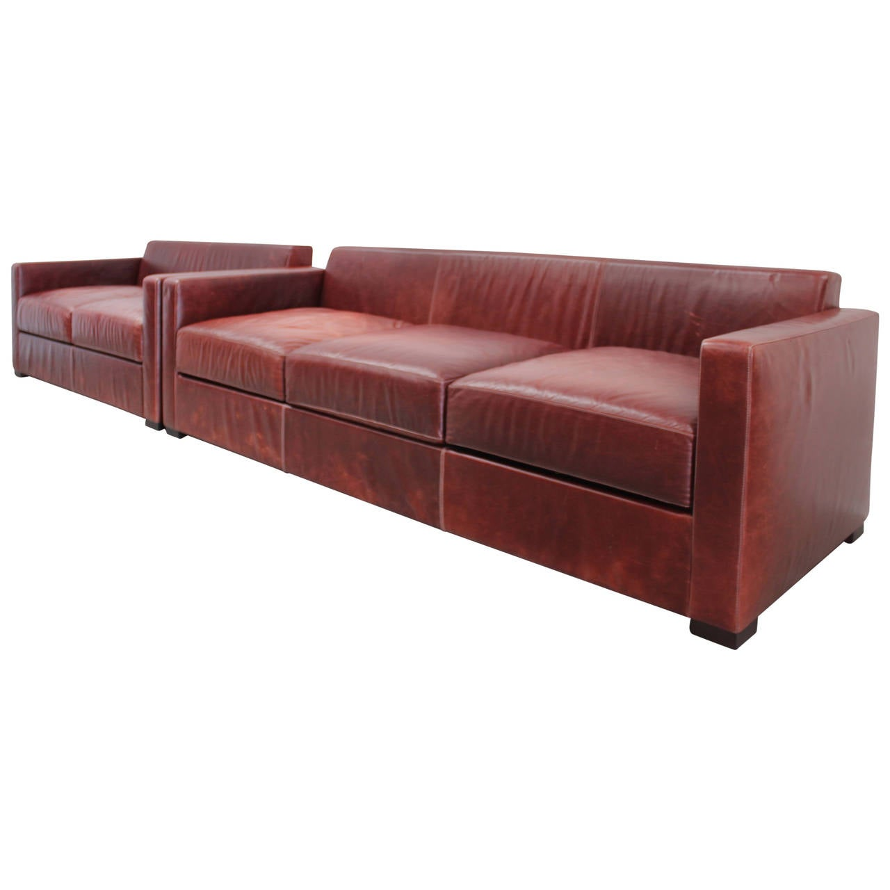 Leather sofa by poltrona frau at 1stdibs - Poltrona Frau Linea A Two And Three Seat Sofa Suite In Leather By