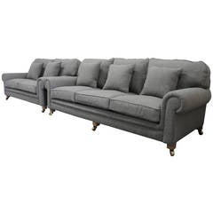 "Pair of Ralph Lauren ""Scroll-Arm"" Sofas in a Mid-Grey Woven-Wool Fabric"