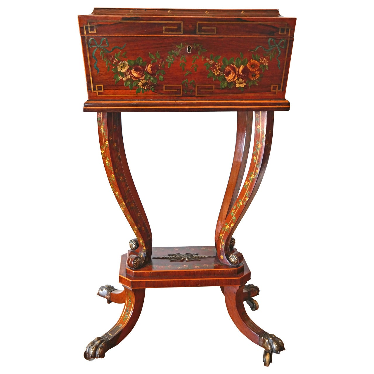 19th Century Regency Rosewood Workbox