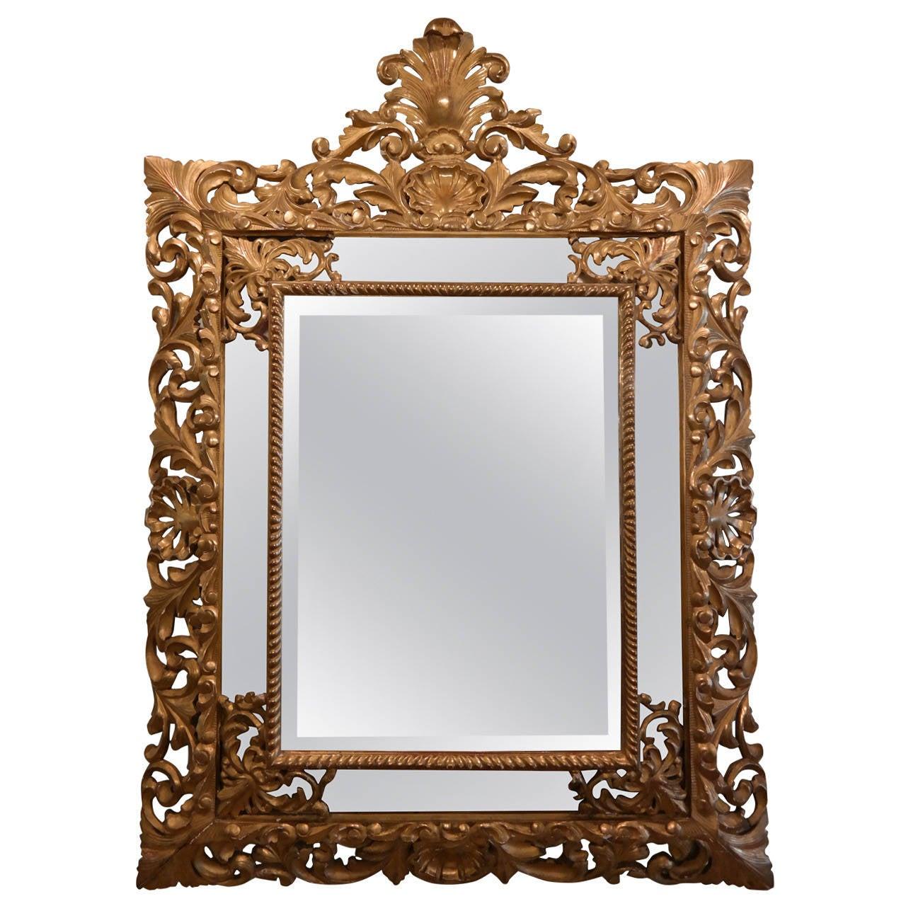 Gilded Hand-Carved Marginal Mirror