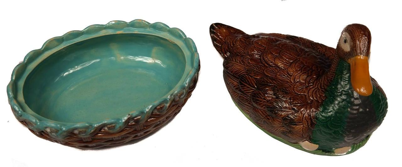 Late 19th Century William Brownfield Majolica Duck-on-Nest Tureen