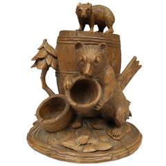 Black Forest Carved Bear Tobacco Jar