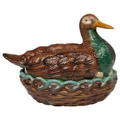 William Brownfield Majolica Duck-on-Nest Tureen