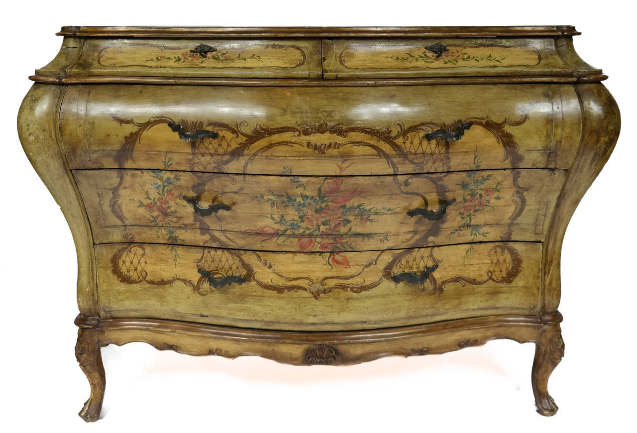 Hand painted bombe chest at 1stdibs for Hand painted chests