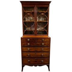 George III Mahogany Secretaire Bookcase