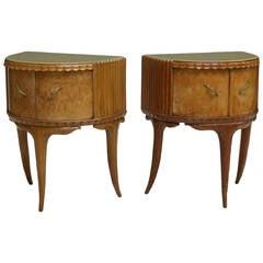 Italian Bird's Eye Maple Side Cabinets