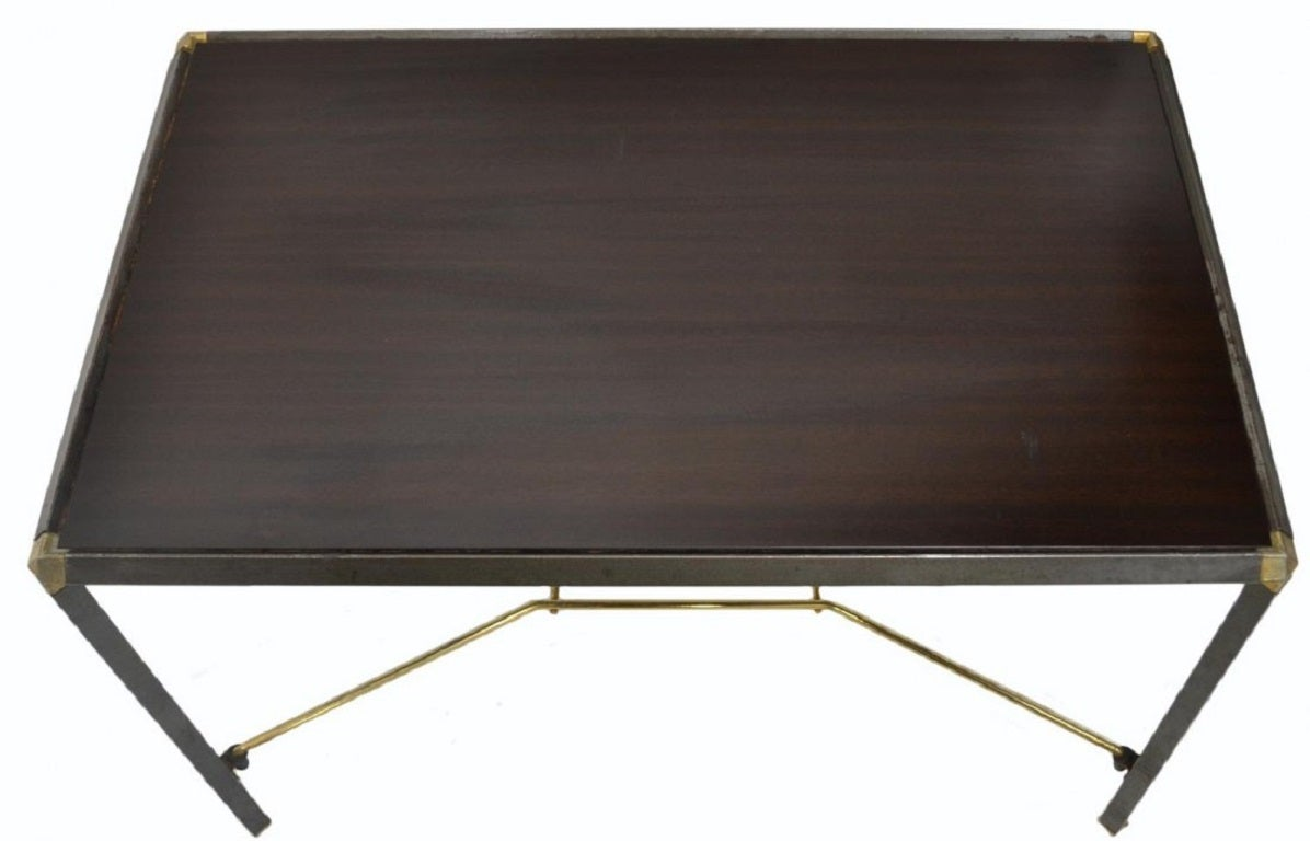Italian Wood And Steel Coffee Table For Sale At 1stdibs