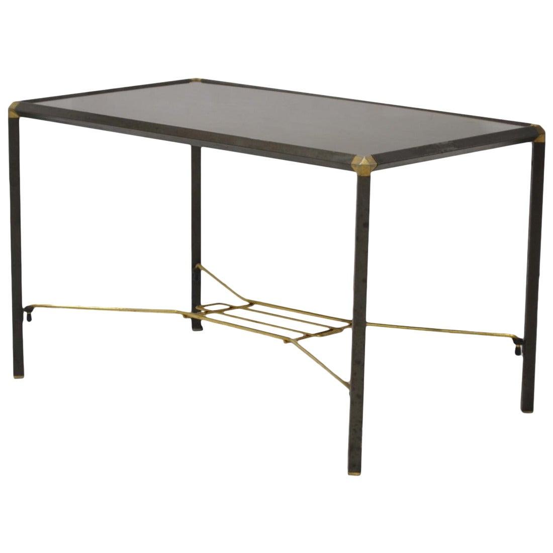 Italian Wood And Steel Coffee Table At 1stdibs