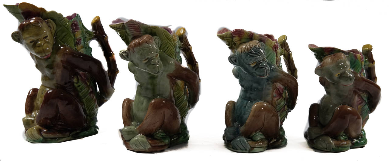 19th Century Set of Four Majolica Monkey Graduated Pitchers, 8 to 10 ins., English, c. 1880  For Sale