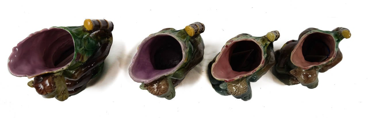 Set of Four Majolica Monkey Graduated Pitchers, 8 to 10 ins., English, c. 1880  For Sale 3