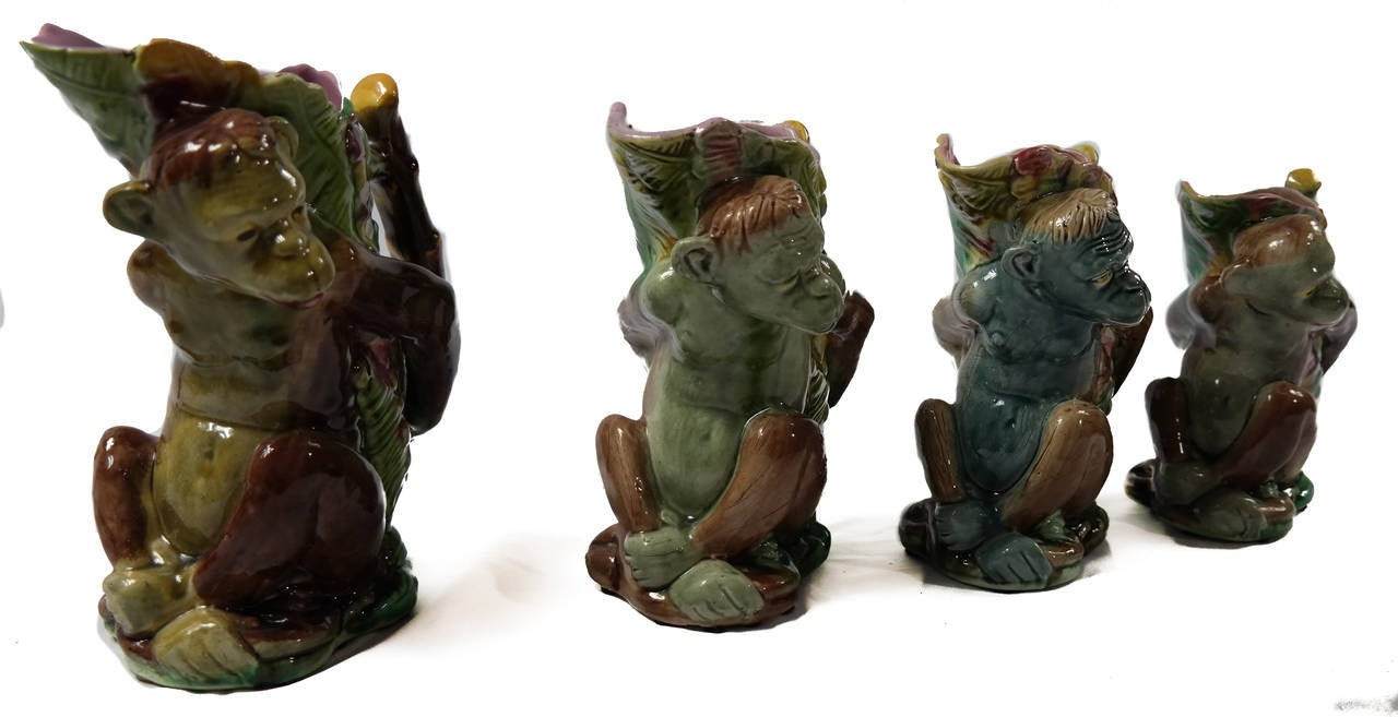 Set of Four Majolica Monkey Graduated Pitchers, 8 to 10 ins., English, c. 1880  In Good Condition For Sale In Banner Elk, NC