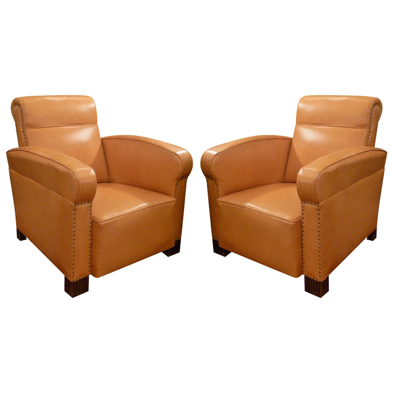 Pair of Art Deco Leather Club Chairs at 1stdibs