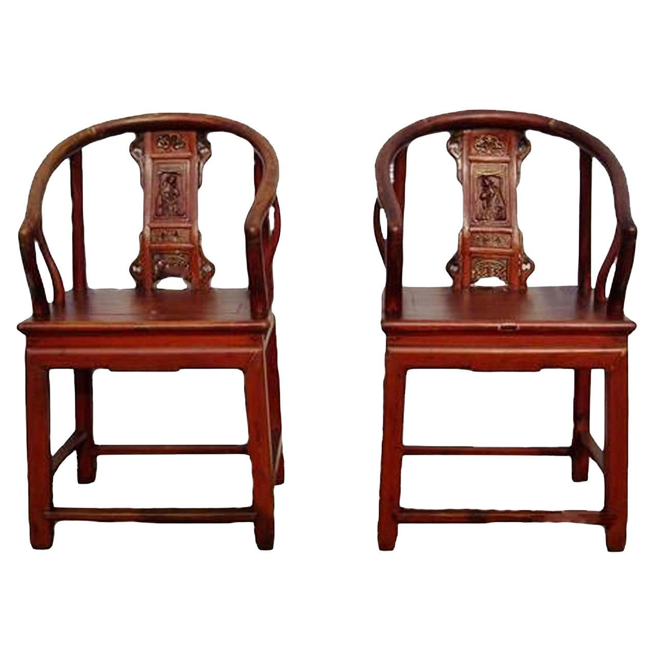 Antique Chinese Chairs Horseshoe Pair At 1stdibs