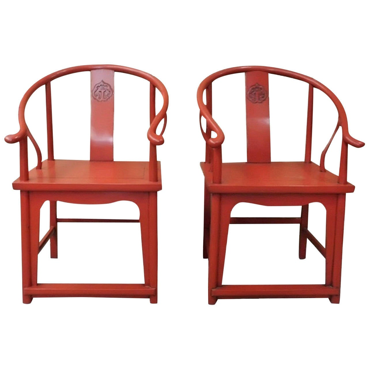 Pair chinese ming style red lacquer horseshoe chairs at for Red chinese furniture