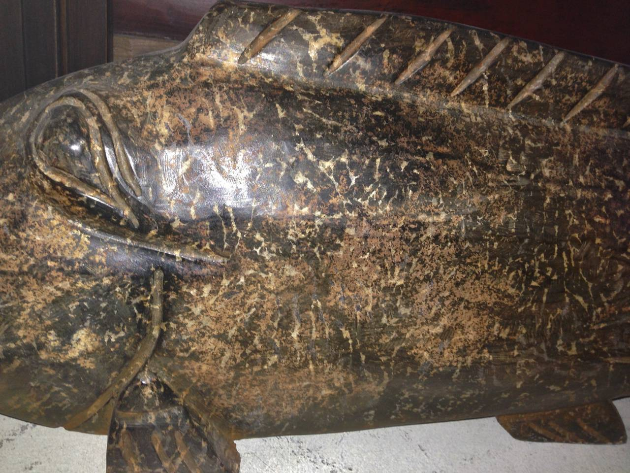Massive chinese neolithic style carved stone fish for sale