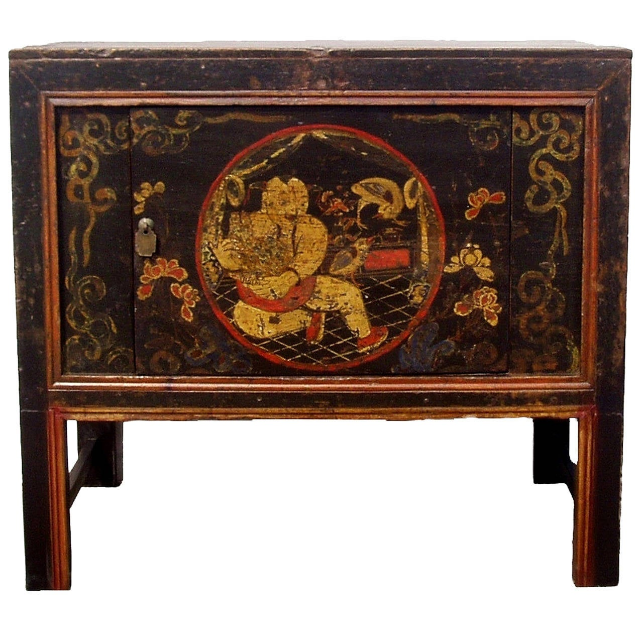 19th century chinese antique folk art tribal painted chest for Chinese furnishings