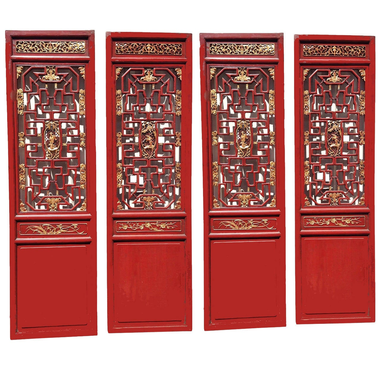 Set of 4 Chinese Antique Carved Doors, Screen, Red and Gilt, 19th Century  at 1stdibs - Set Of 4 Chinese Antique Carved Doors, Screen, Red And Gilt, 19th