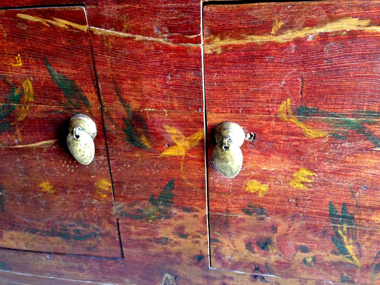 Antique Primitive Chinese Silk Road Chest with Foo Dogs
