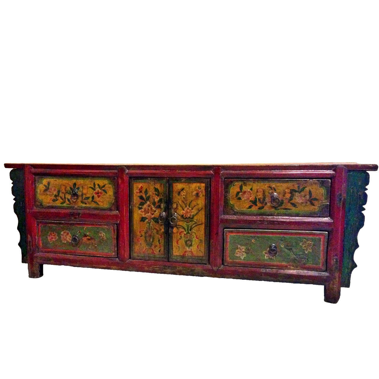 Antique Low Chest 19th Century Chinese Hand Painted At