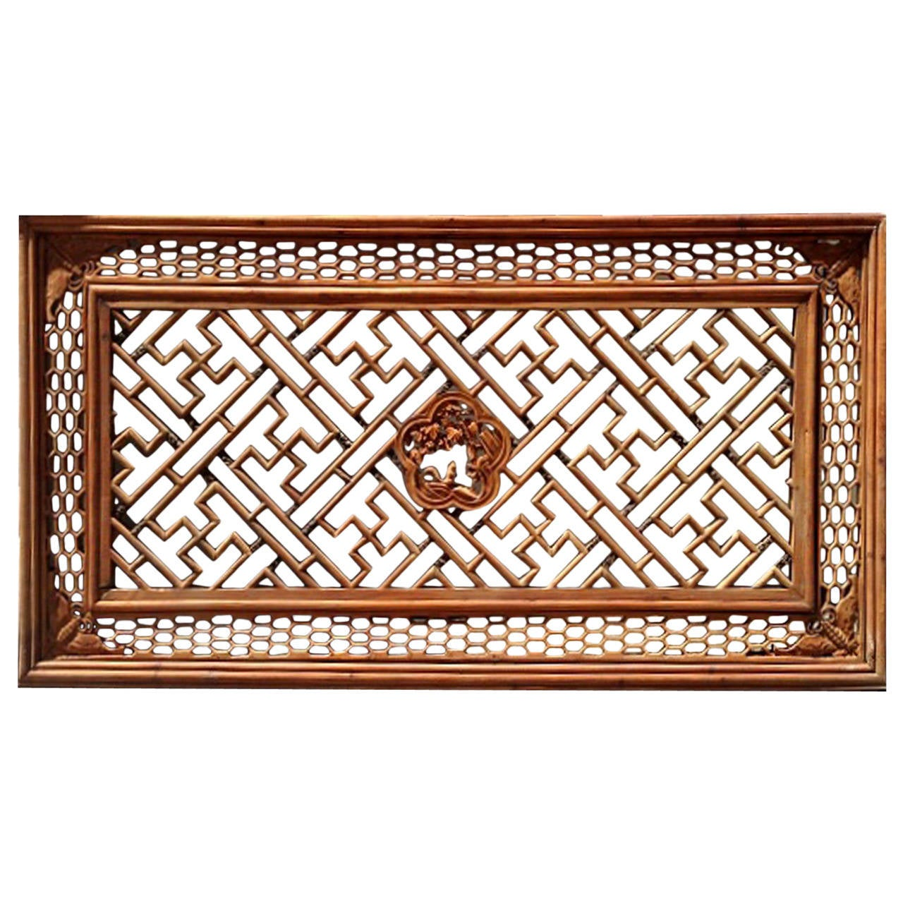 Large Chinese Antique Fretwork Screen Panel At 1stdibs