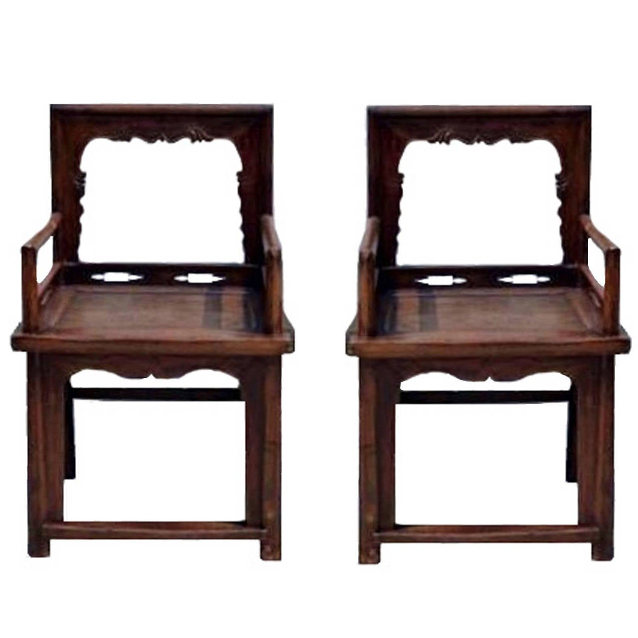 Pair of chinese antique ming rose chairs 19th century at for Chinese art furniture