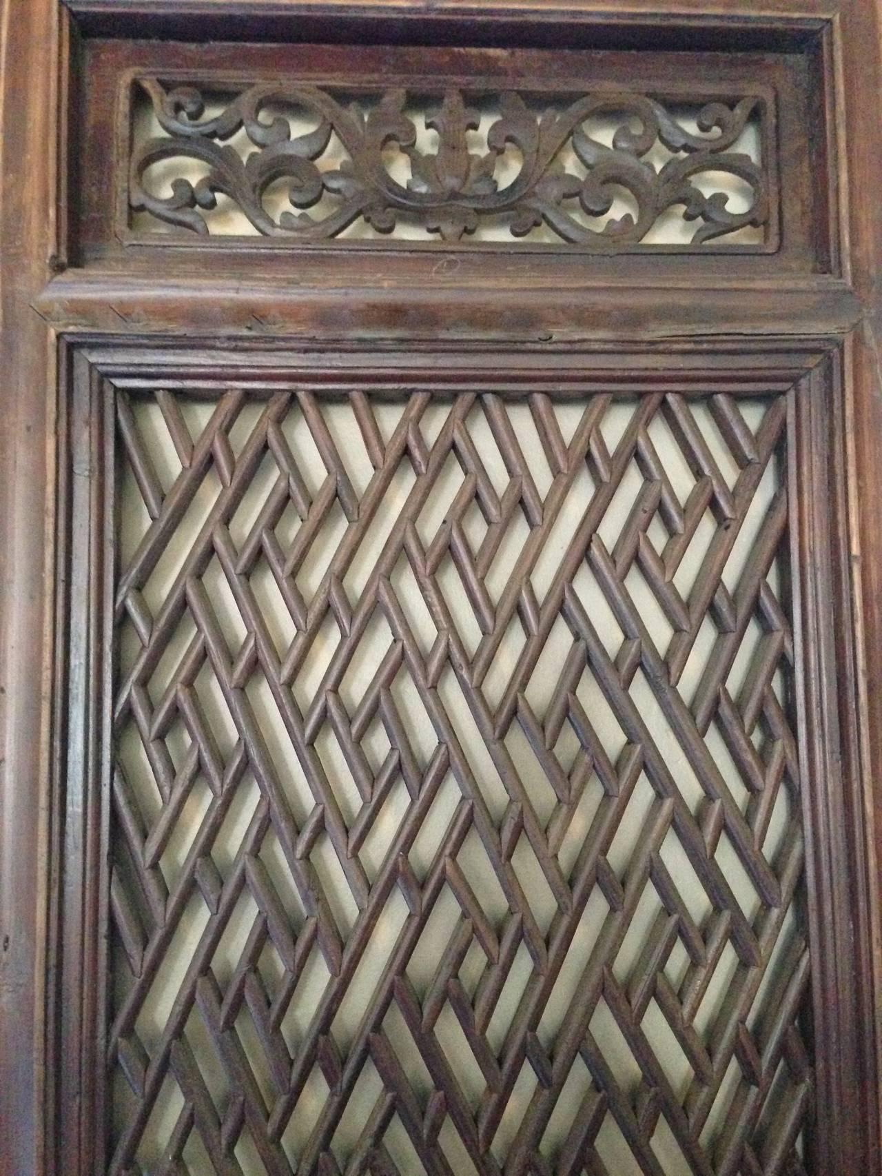 Set Of 6 Chinese Antique Lattice Screen Doors 19th