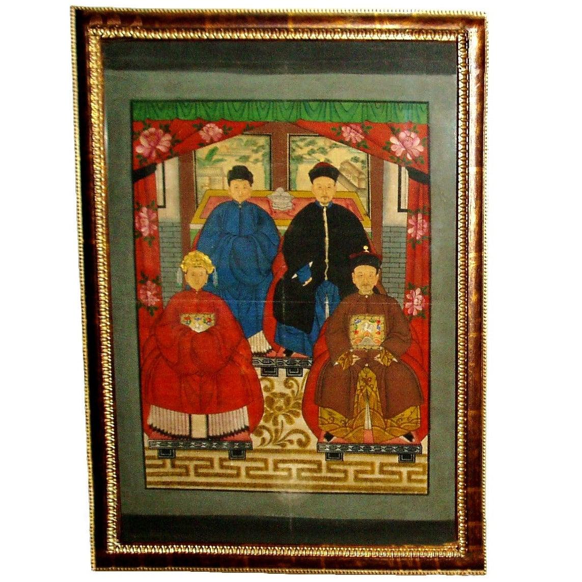 Authentic 19th Century Chinese Antique Ancestor S Portrait