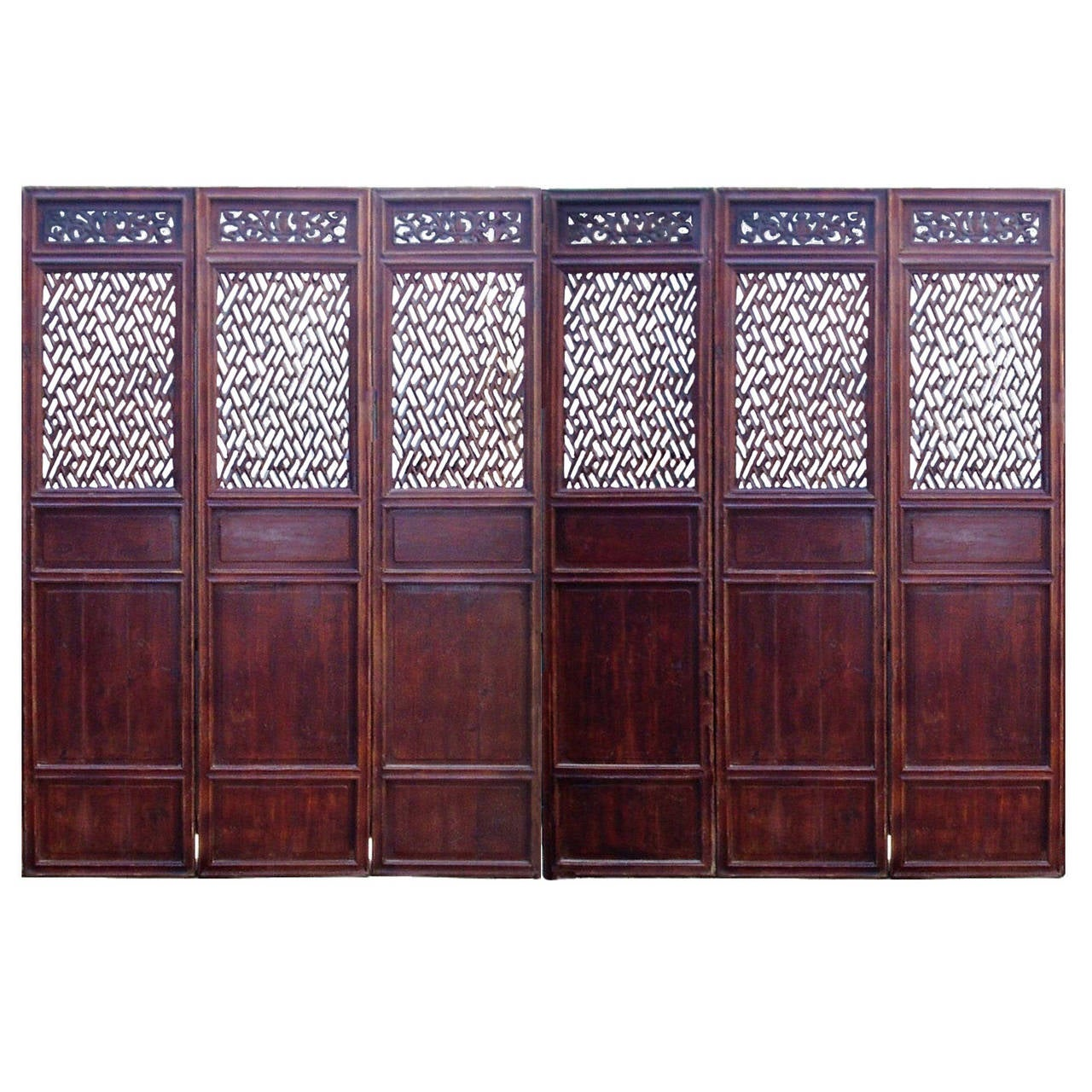 Chinese Antique Lattice Screen Doors 19th Century At 1stdibs. Full resolution  img, nominally Width 1280 Height 1280 pixels, img with #411E27.
