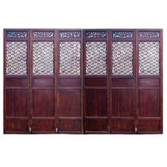Set of 6 Chinese Antique Lattice Screen Doors, 19th Century