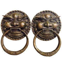 Pair of Large Brass Chinese Lion Door Knockers or Towel Rings