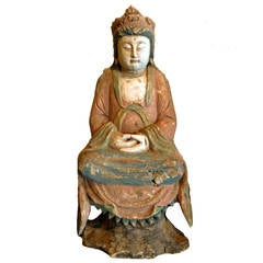 18th Century Chinese Wooden Guan Yin Statue