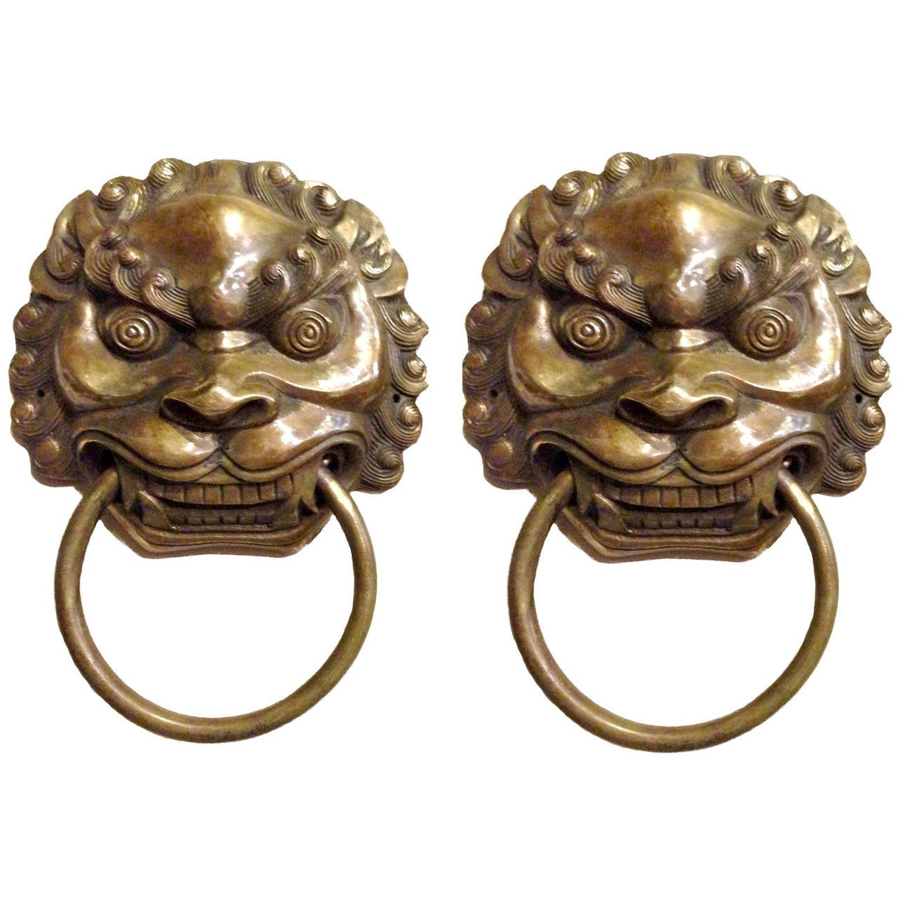 Pair Of Large Chinese Brass Lion Door Knockers Or Towel