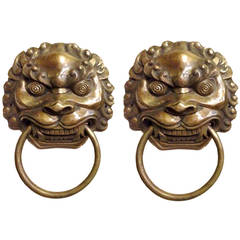 Pair of Large Chinese Brass Lion Door Knockers or Towel Rings