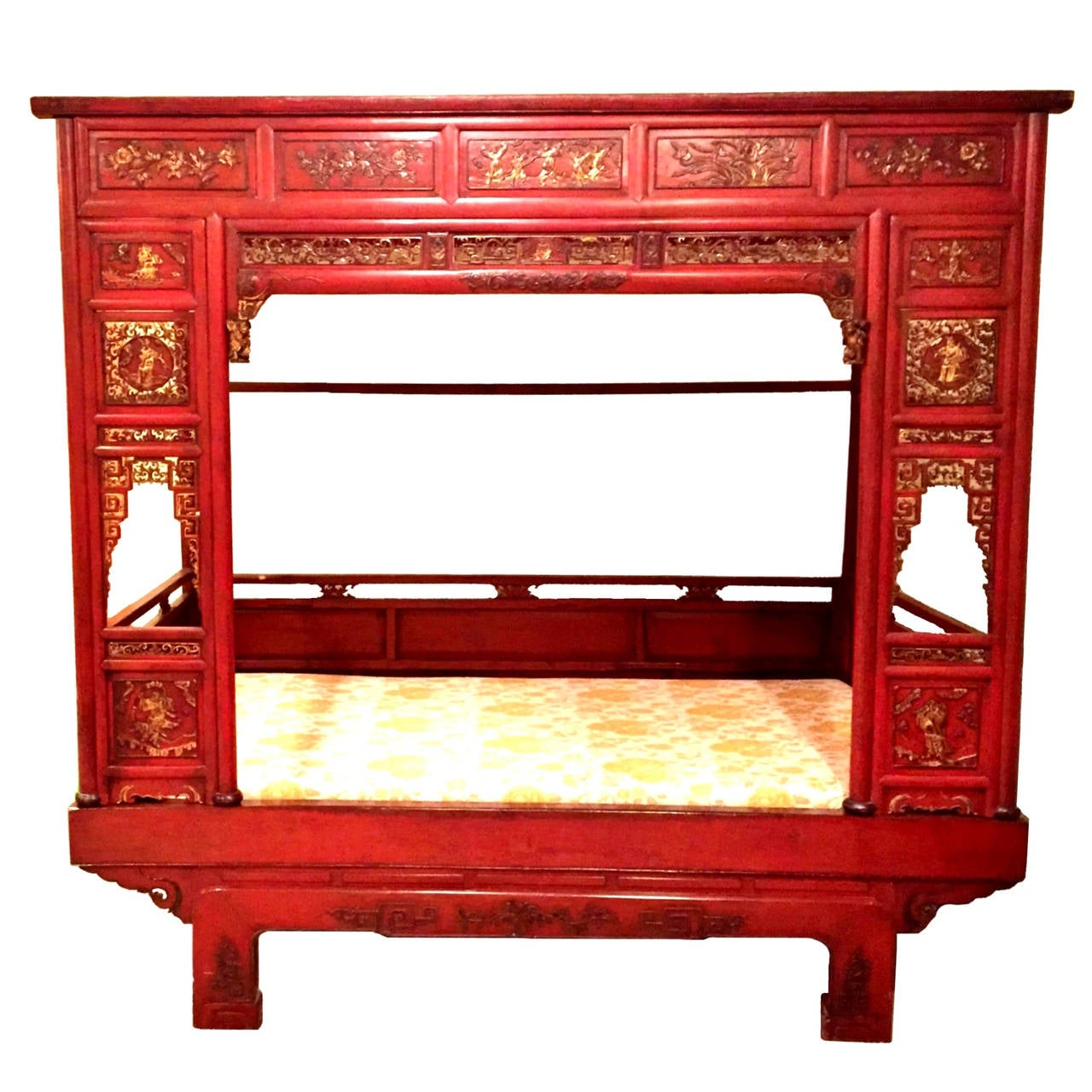 Spectacular chinese antique red lacquer bed 19th century for Red chinese furniture