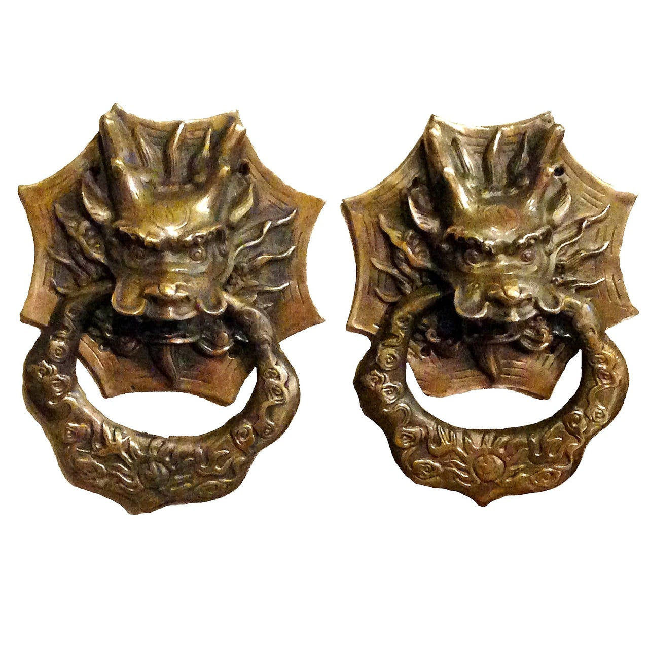 Pair of brass dragon chinese door knockers or towel rings at 1stdibs - Dragon door knocker ...