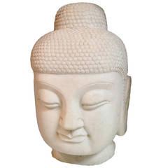 Giant White Marble Buddha Head