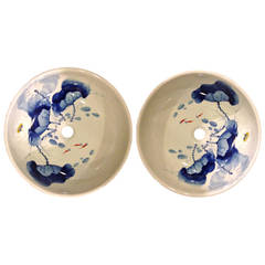 Pair Hand-Painted Chinese Blue and White Porcelain Sinks or Planters