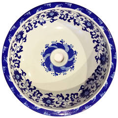Chinese Blue and White Porcelain Sink or Planter, Hand-Painted