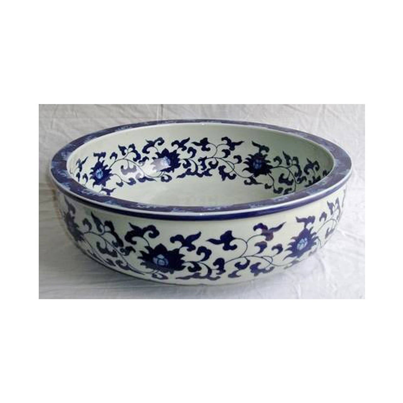Chinese Blue And White Porcelain Sink Or Planter Hand