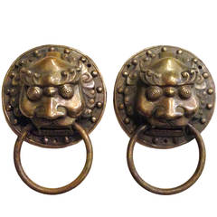 Pair of Chinese Brass Door Knockers with Guardian Motifs