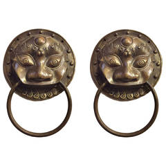 Pair of Large Chinese Brass Door Knockers or Towel Rings
