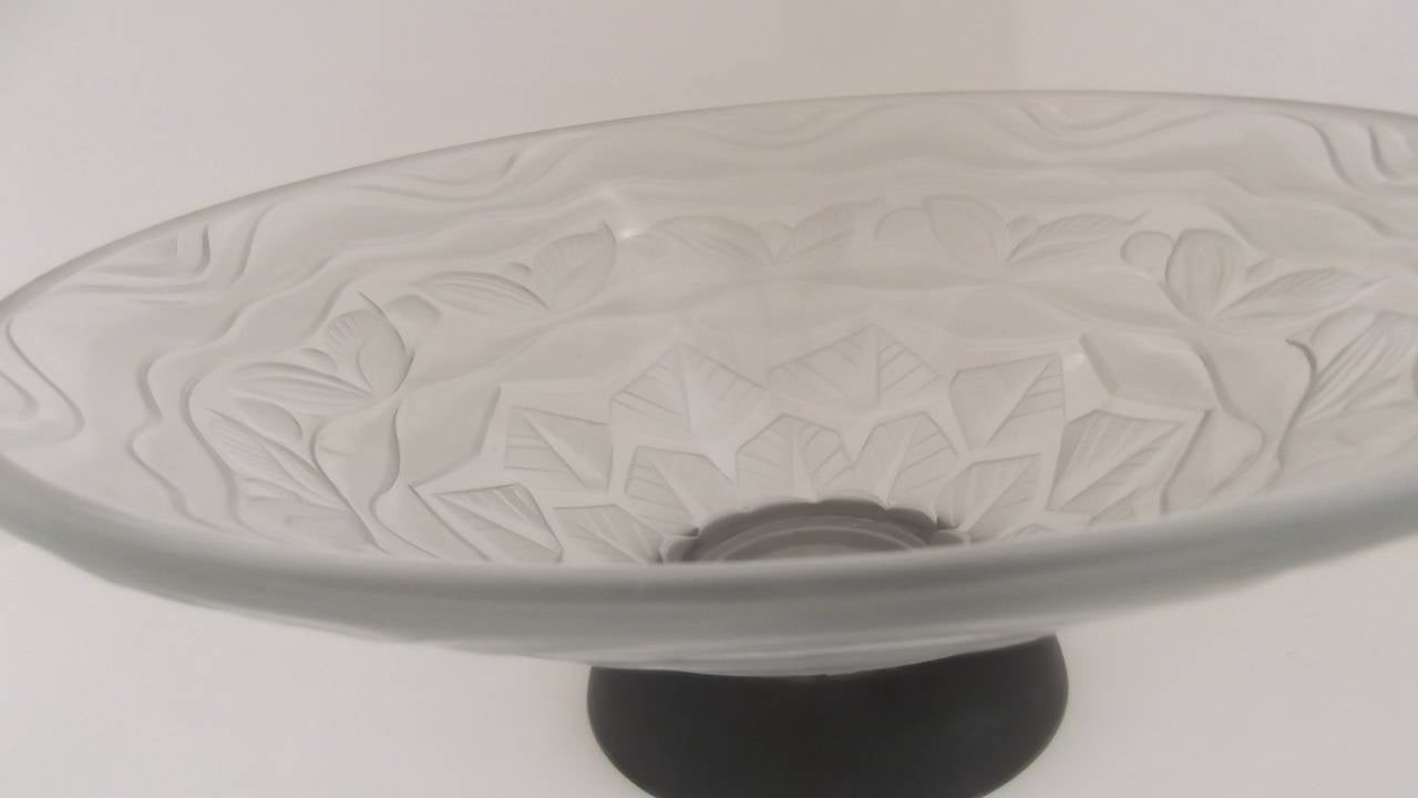 French Art Deco Frosted Cone Bowl By Andre Hunebelle For