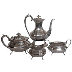 Graceful English Sterling Silver Coffee and Tea Service