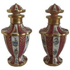 Pair of 18th Century English Hand-Painted and Gilt Porcelain Perfume Decanters