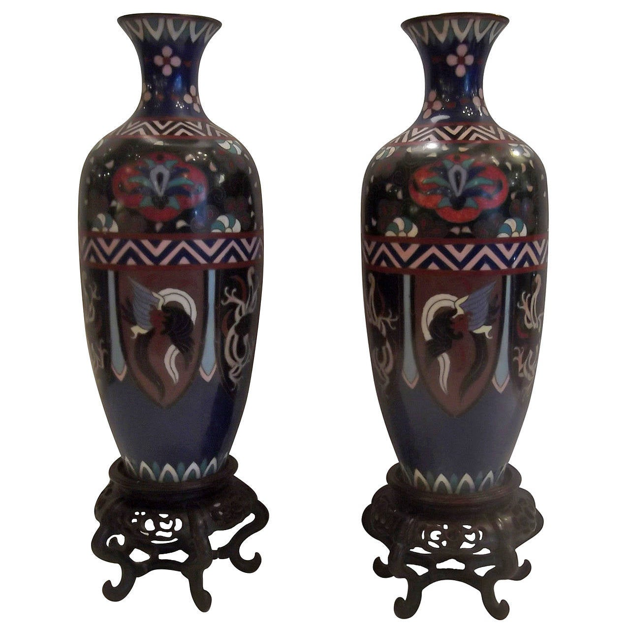 Pair of meiji period japanese cloisonne vases with rosewood stands pair of meiji period japanese cloisonne vases with rosewood stands for sale reviewsmspy